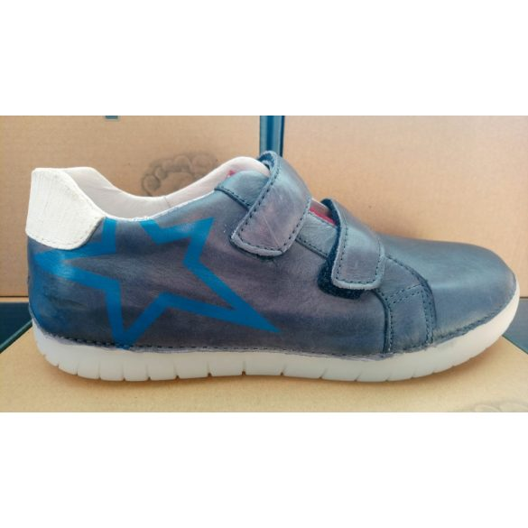 Esztétikai hibás villogó talpú D.D. Step fiú bőr cipő 31,33,36-s méretben