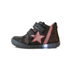 Villogó talpú D.D. Step lány bőr cipő 33,35,36-s méretben